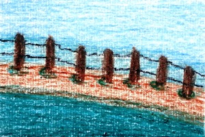 ...borderlines...art by Jutta Gabriel...(crayons on paper)...