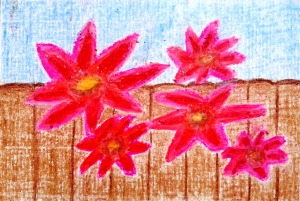 ...flowers for freedom...art by Jutta Gabriel...(cayons on paper)...