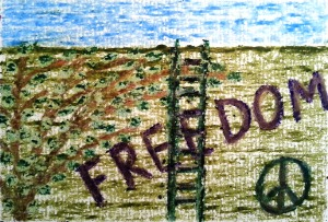 ...freedom is possible...art by Jutta Gabriel...(crayons on paper)...