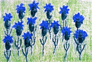 ...lil blue ones...art by Jutta Gabriel...(crayons on paper)...