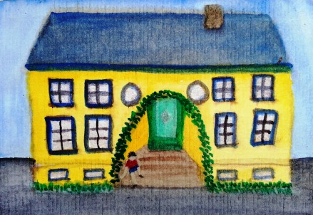 ...school is out...art by Jutta Gabriel...(watercolors on paper)...