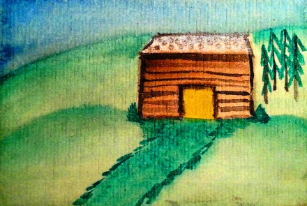 ...mountain lodge...art by Jutta Gabriel...(watercolors on paper)...