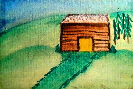 ...mountain lodge...art by Jutta Gabriel...(watercolors on paper)...
