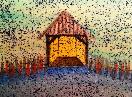 ...rainy boathouse...art by Jutta Gabriel...(watercolors on paper)...