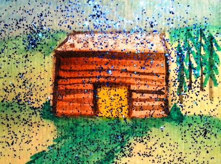 ...rainy mountain lodge...art by Jutta Gabriel...(watercolors on paper)...