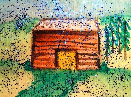...rainy mountain lodge...art by Jutta Gabriel...(watercolors on paper)...