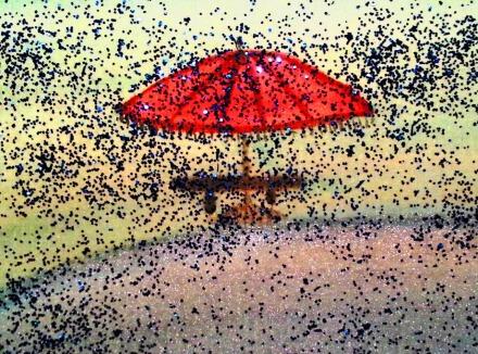 ...rainy seaside promenade...art by Jutta Gabriel...(watercolors on paper)...