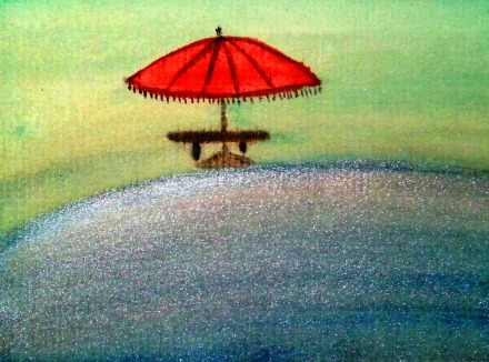 ...seaside promenade...art by Jutta Gabriel...(watercolors on paper)...